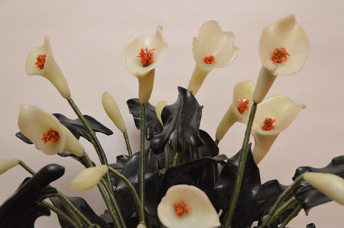 """Jade """"Jack in The Pulpit"""" tree in cloisonné planter, - 2"""