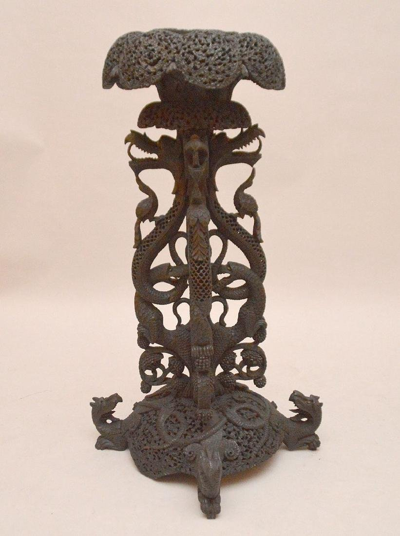 """Another unusual ornately carved Indo pedestal, 37""""h x"""