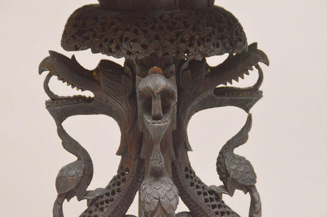 """Another unusual ornately carved Indo pedestal, 37""""h x - 2"""