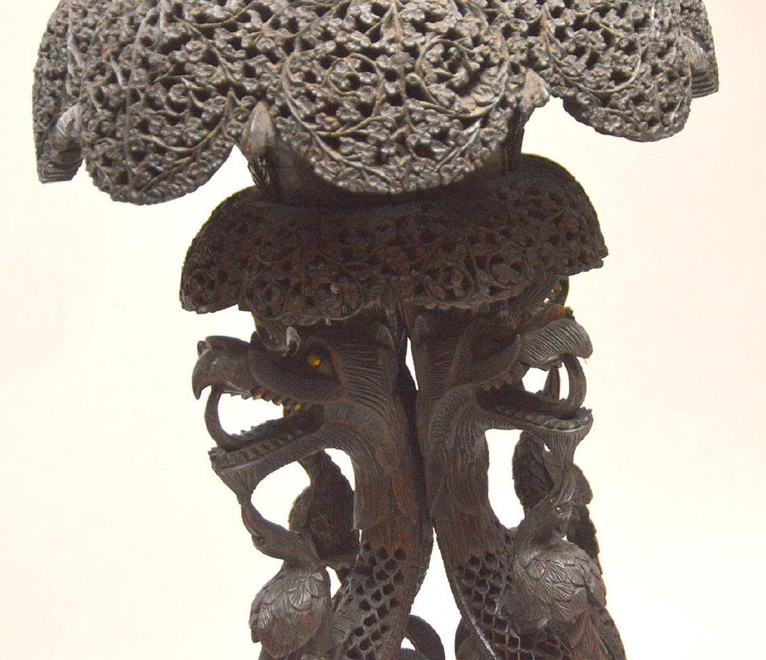 """Another unusual ornately carved Indo pedestal, 37""""h x - 4"""
