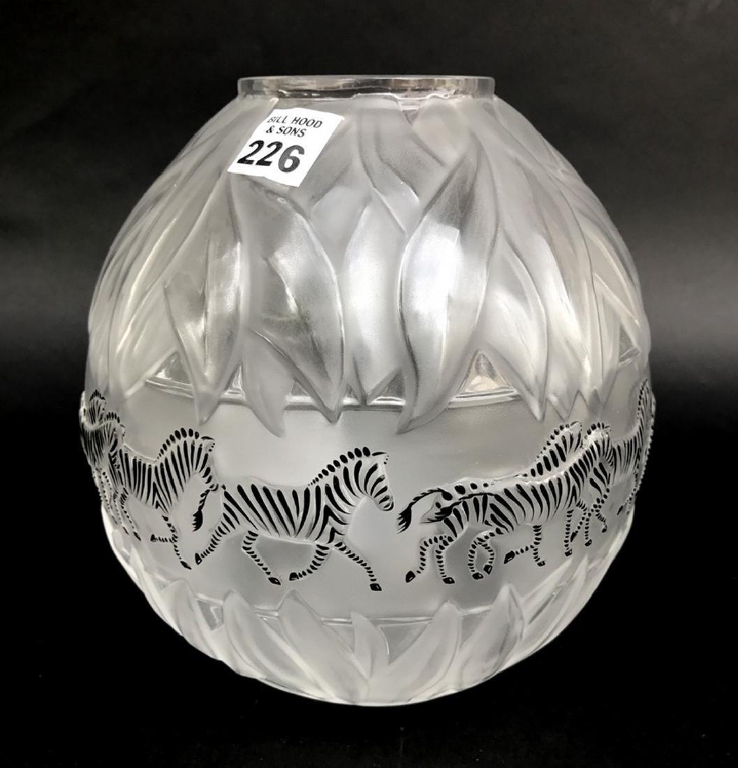 """Lalique crystal Tanzania (Zebra) vase, 8 1/8""""h"""