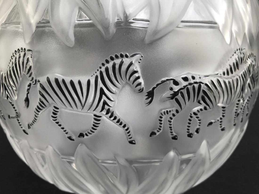 """Lalique crystal Tanzania (Zebra) vase, 8 1/8""""h - 2"""