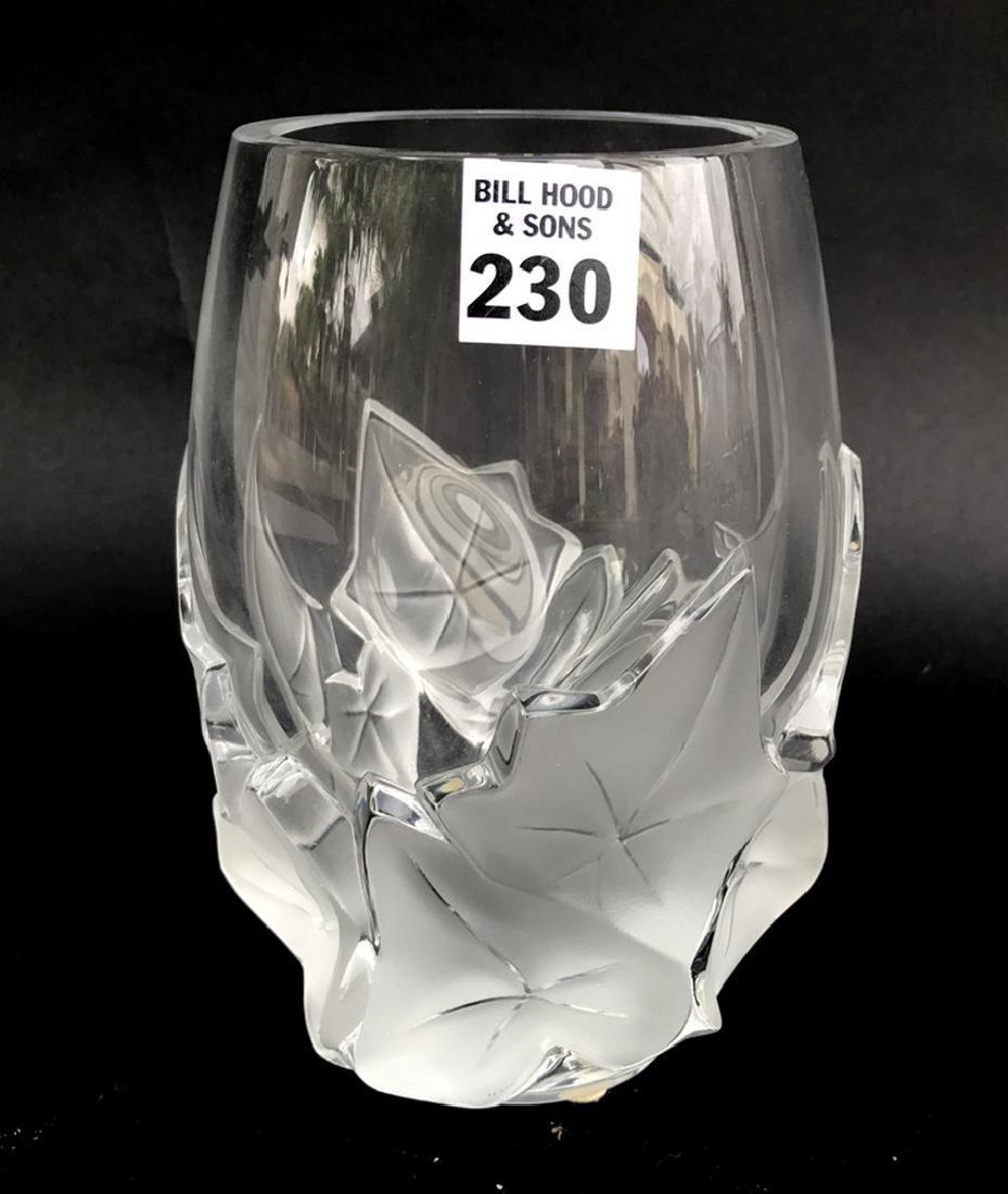 """Lalique """"Hedera"""" Ivy Leaf Vase, 7""""h x 5""""w"""