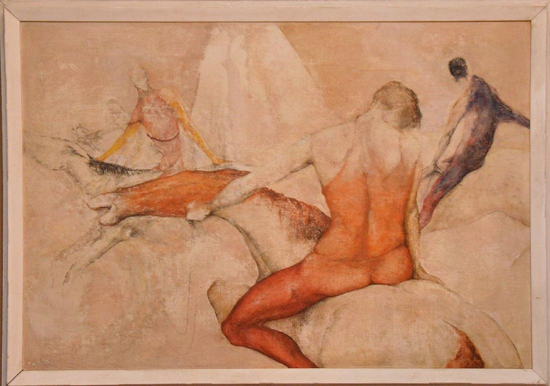 Large oil on massonite board, Circus Routine, Sallie