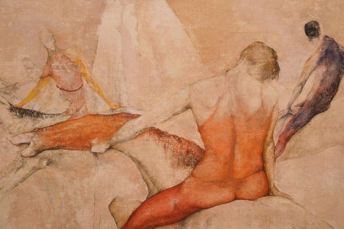 Large oil on massonite board, Circus Routine, Sallie - 2