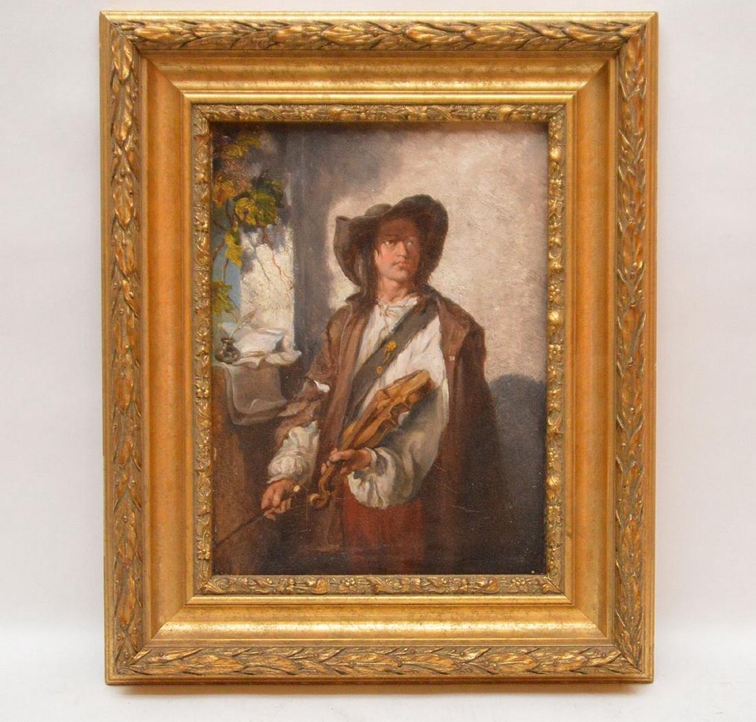 Luigi Marta, 19th Century Italy, oil on panel, man w/ a