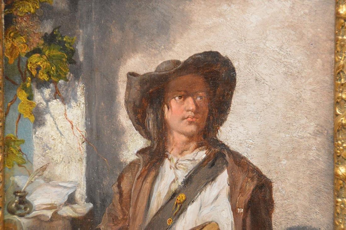 Luigi Marta, 19th Century Italy, oil on panel, man w/ a - 2