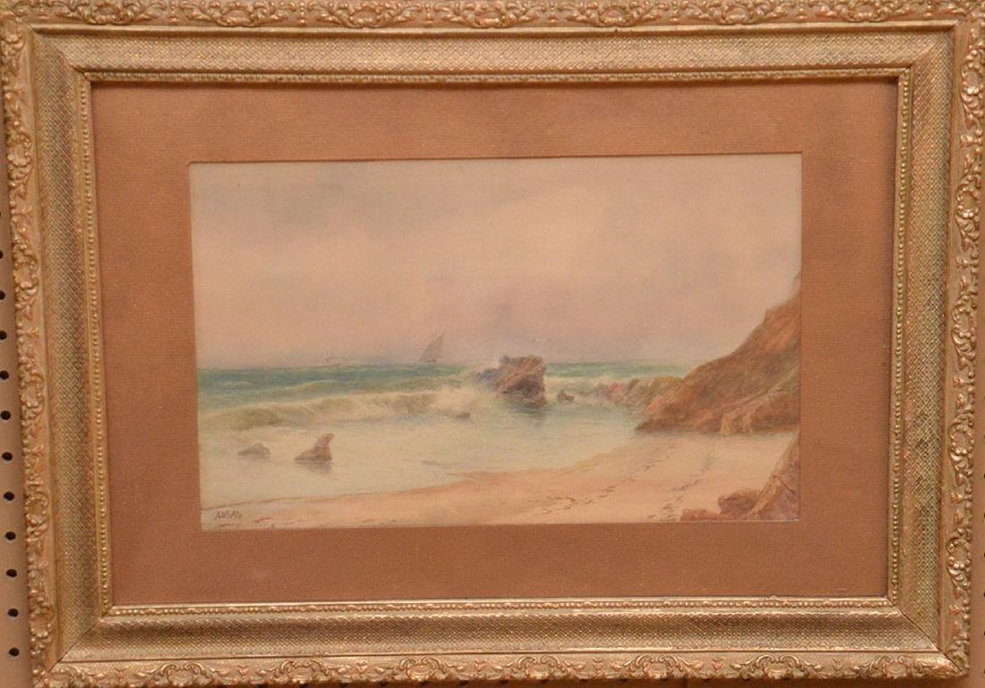 Russian watercolor Lagorio, waves crashing on the shore