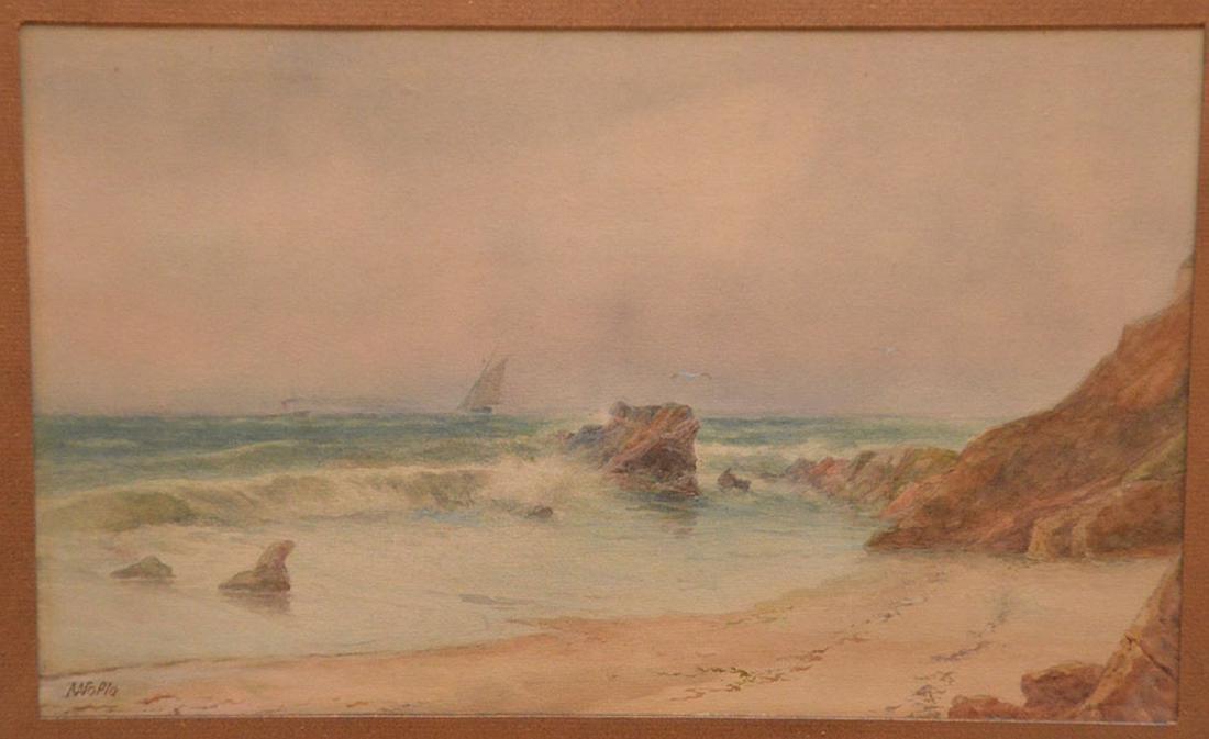 Russian watercolor Lagorio, waves crashing on the shore - 2