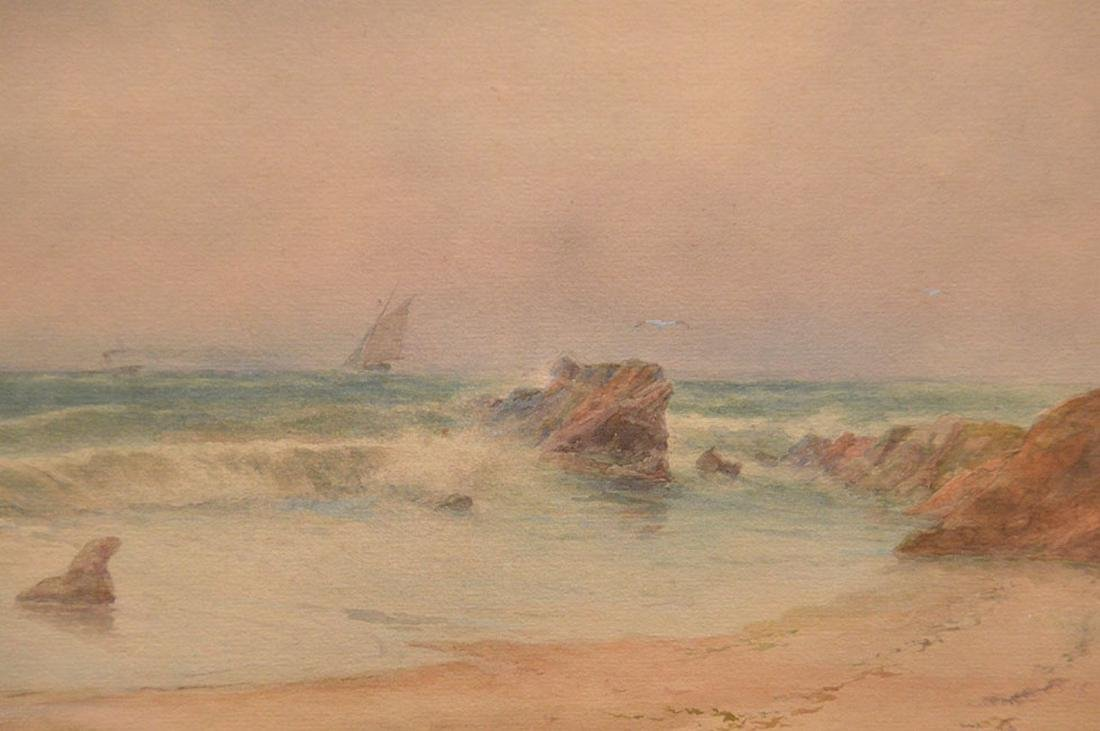 Russian watercolor Lagorio, waves crashing on the shore - 3