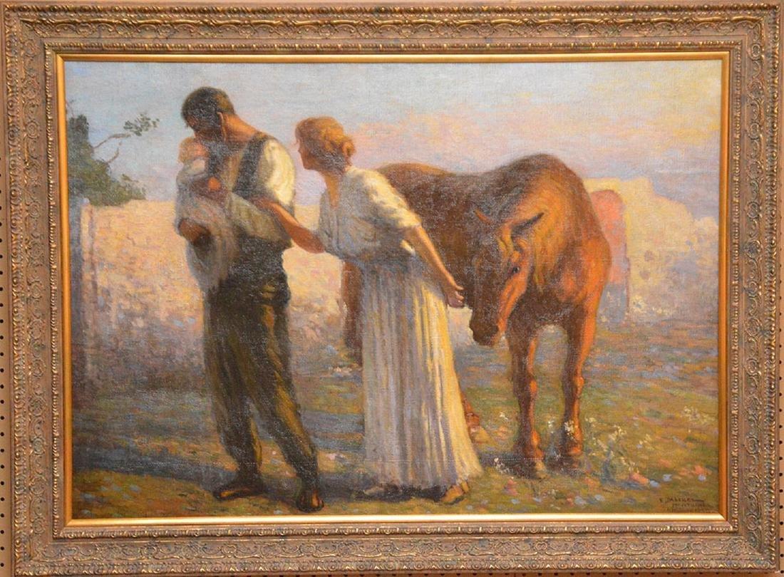 Enrique Pascual Monturiol oil on canvas, couple holding