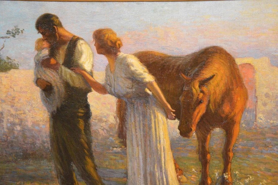 Enrique Pascual Monturiol oil on canvas, couple holding - 2