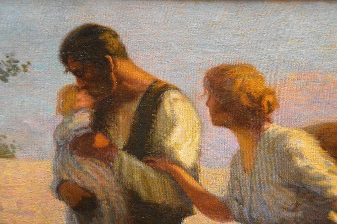 Enrique Pascual Monturiol oil on canvas, couple holding - 4