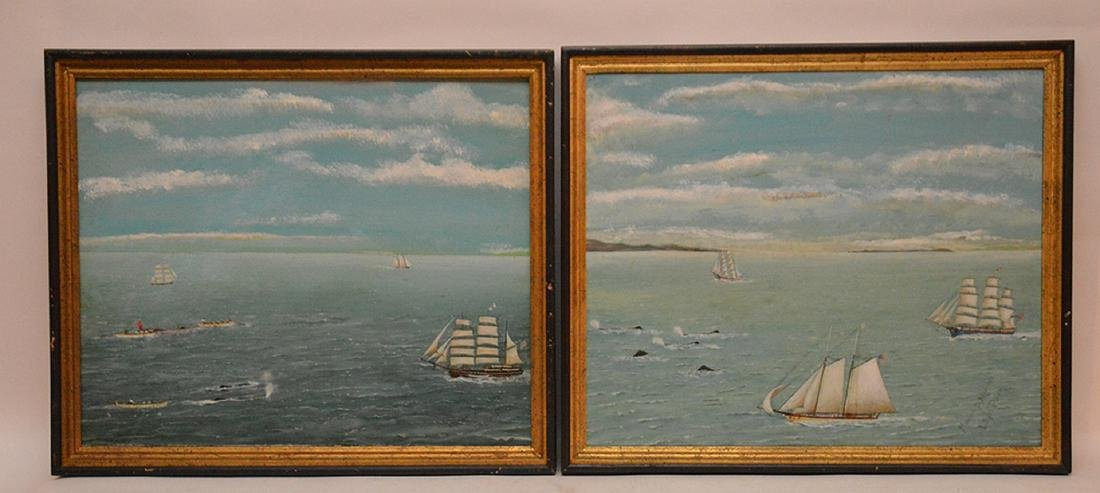 2 oil on canvas paintings by Manuel Madrugza