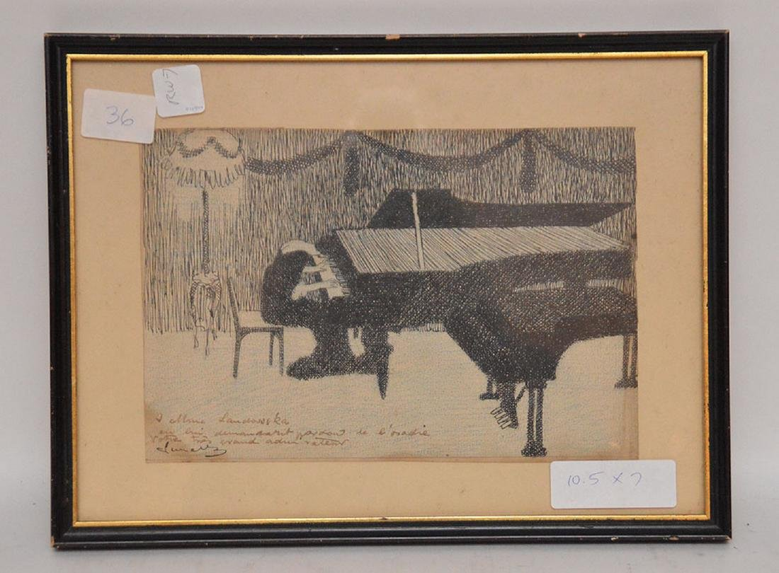 2 drawings by Herschel Levit, pen/ink girl playing