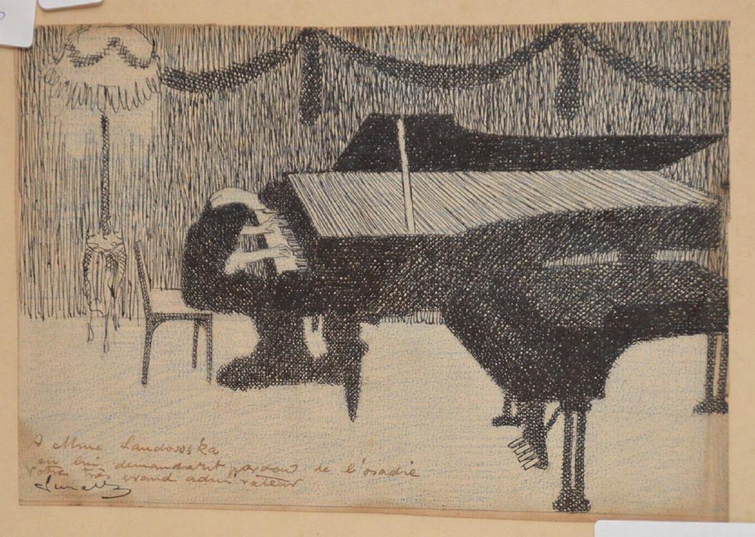 2 drawings by Herschel Levit, pen/ink girl playing - 2