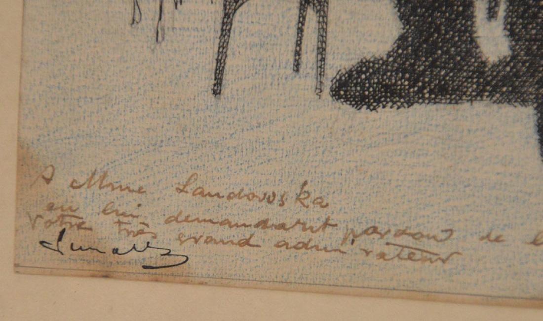 2 drawings by Herschel Levit, pen/ink girl playing - 3
