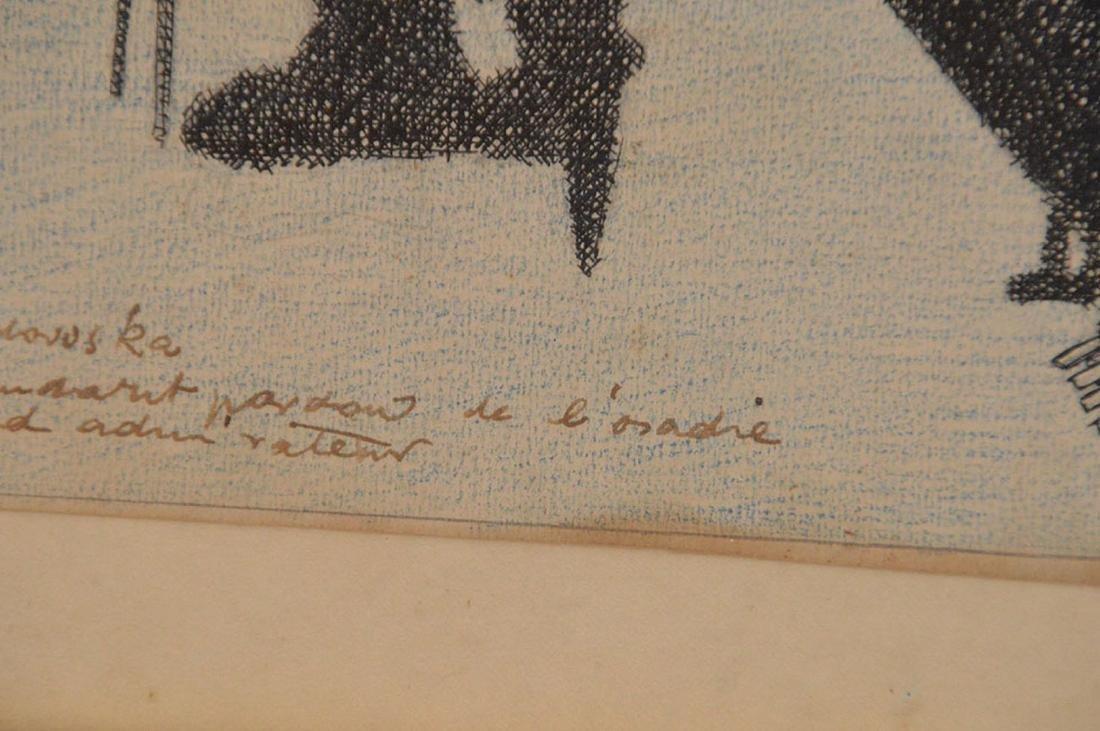2 drawings by Herschel Levit, pen/ink girl playing - 4