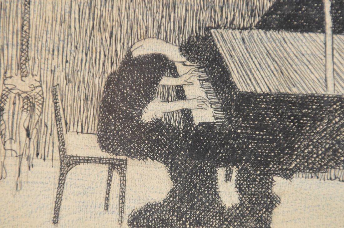 2 drawings by Herschel Levit, pen/ink girl playing - 5