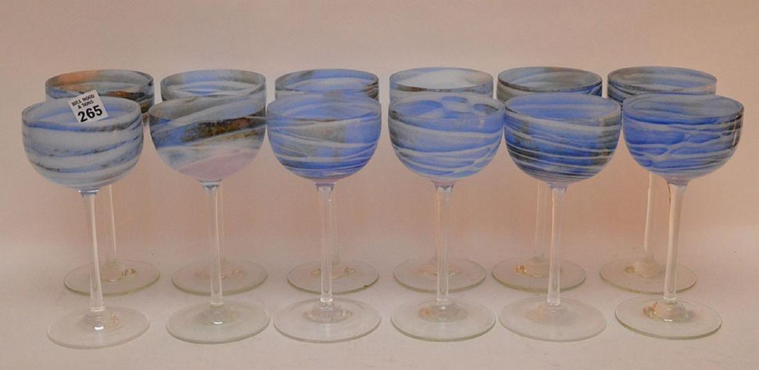 12 art glass blue swirl wine stems