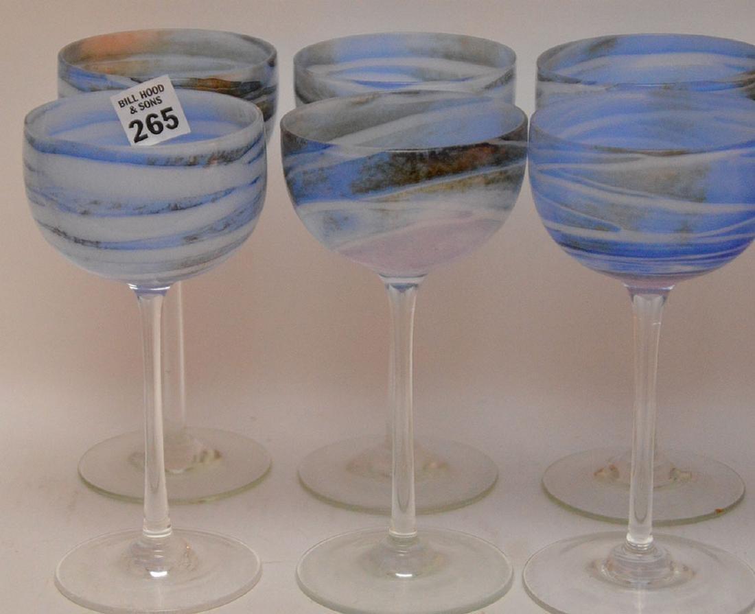 12 art glass blue swirl wine stems - 2