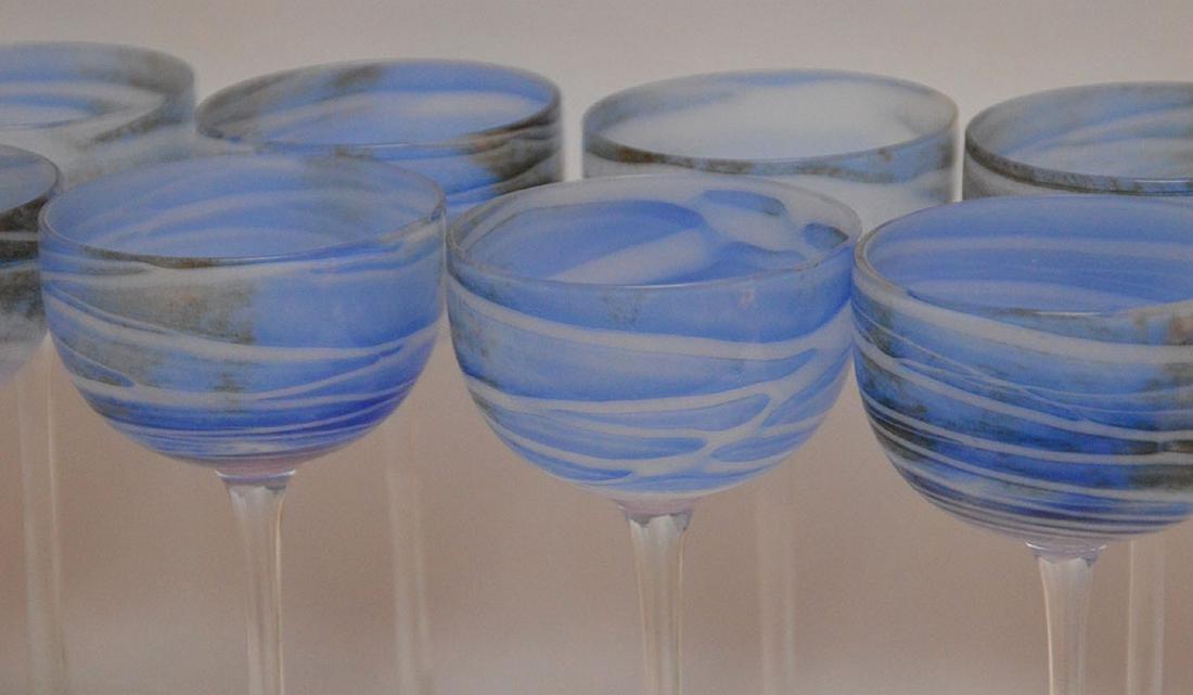 12 art glass blue swirl wine stems - 3