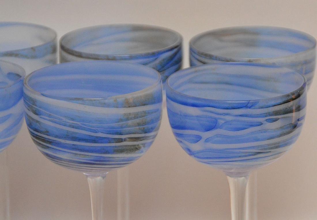 12 art glass blue swirl wine stems - 4