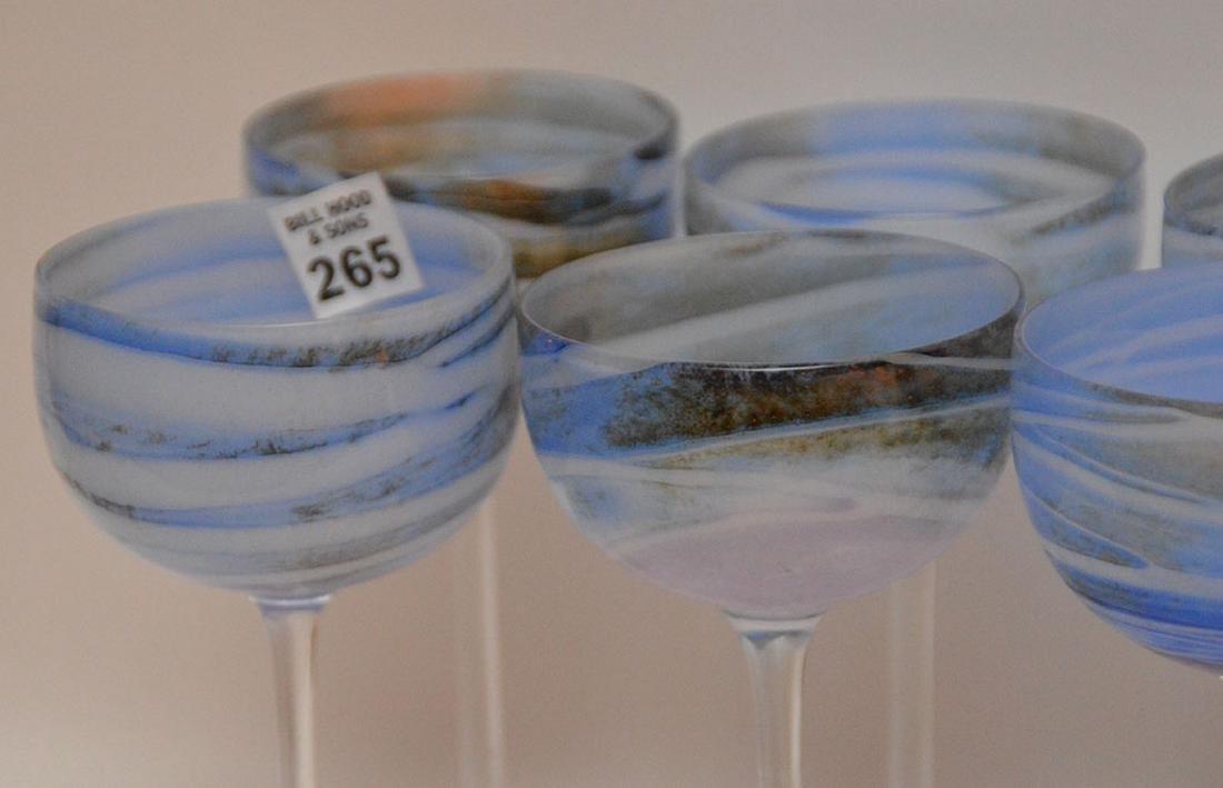 12 art glass blue swirl wine stems - 5