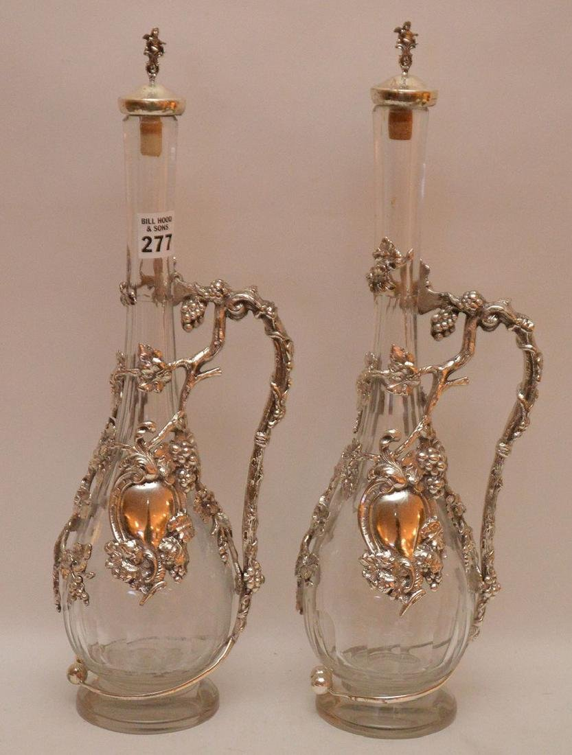Pair claret ewers with grape & vine handle/collar (one