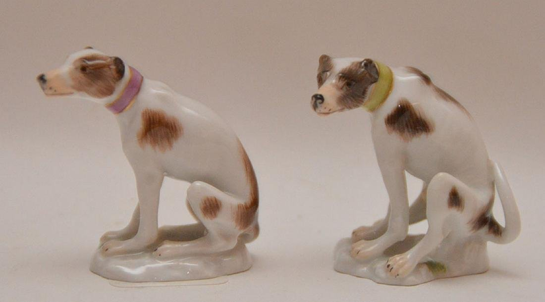 Pair fine Meissen miniature seated Whippets