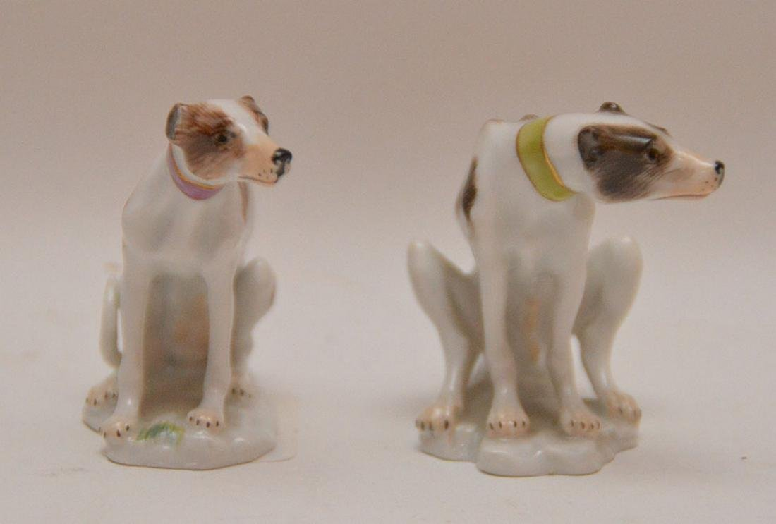 Pair fine Meissen miniature seated Whippets - 2