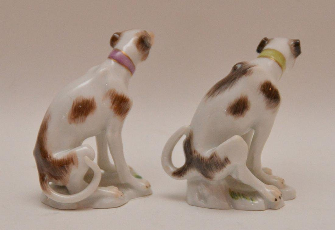 Pair fine Meissen miniature seated Whippets - 3