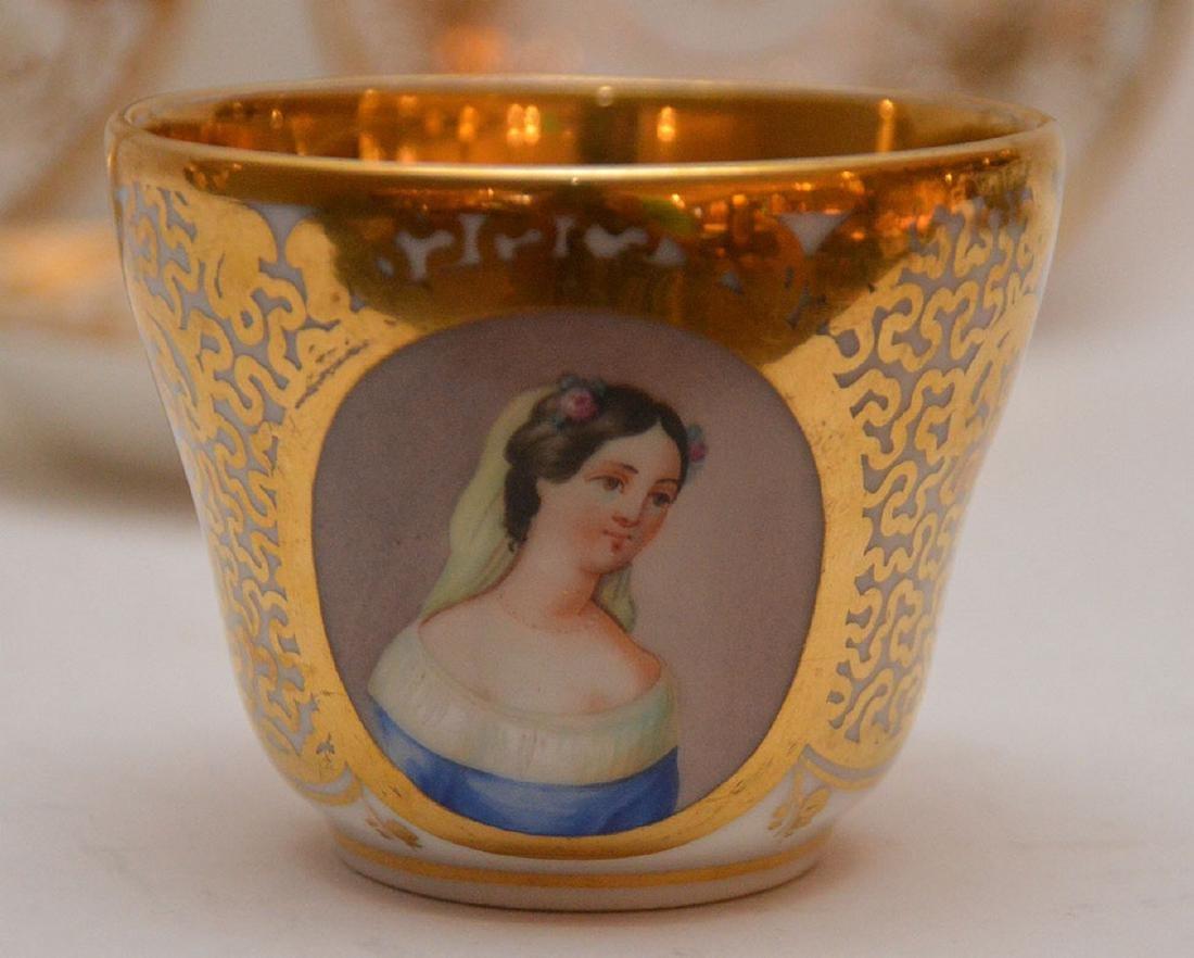 4 pieces Paris porcelain, 3 plates & portrait cup - 2