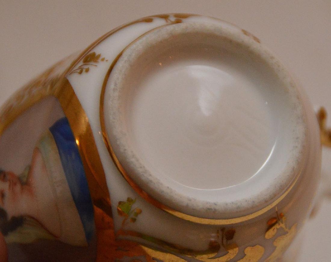 4 pieces Paris porcelain, 3 plates & portrait cup - 3