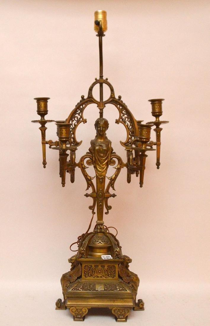 """6 light figural bronze lamp/candelabra, 31""""h"""