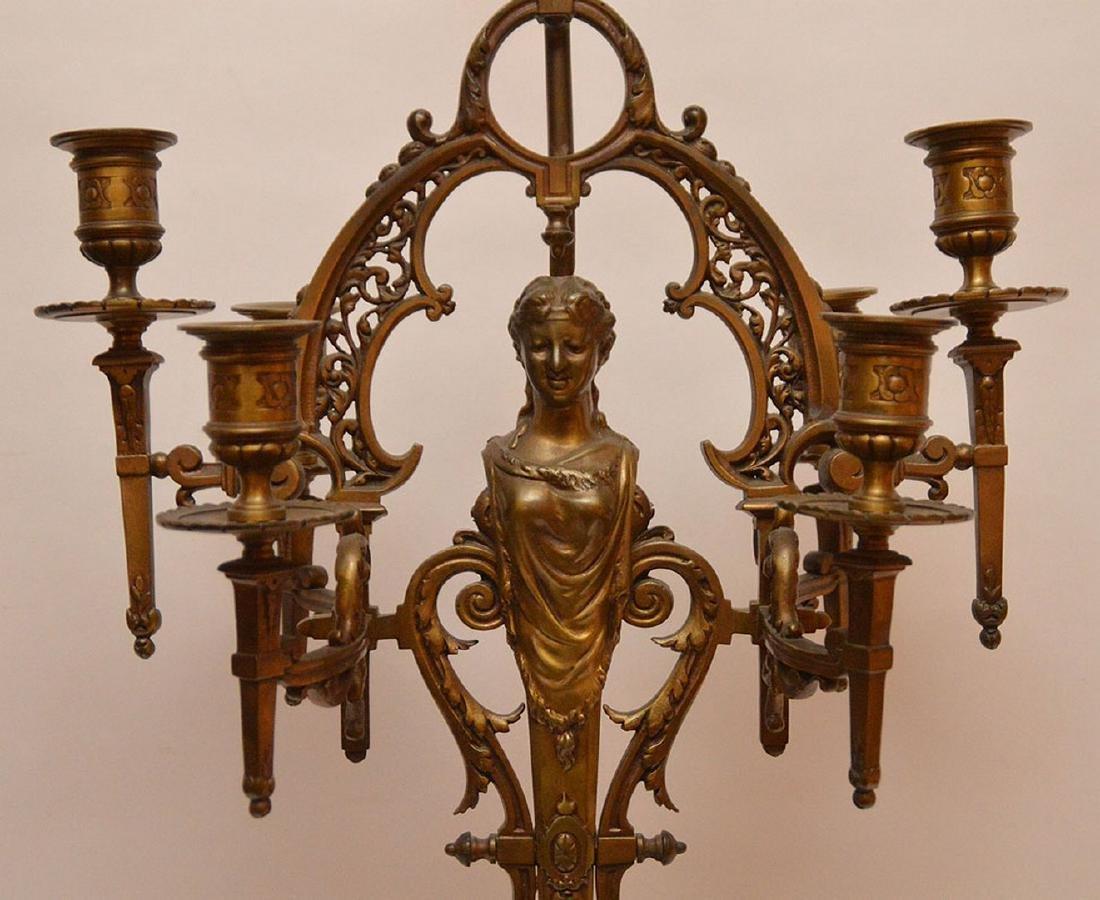 """6 light figural bronze lamp/candelabra, 31""""h - 3"""