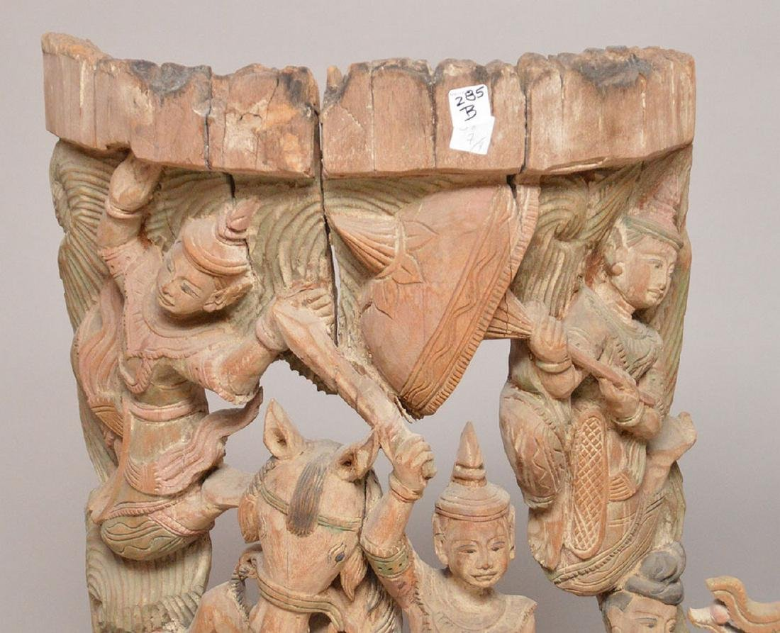 3 large carved wood wall hangings, originally temple - 2