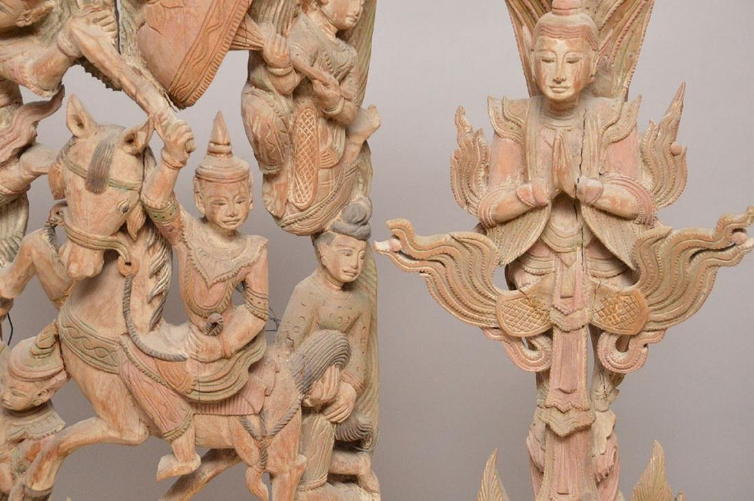 3 large carved wood wall hangings, originally temple - 5