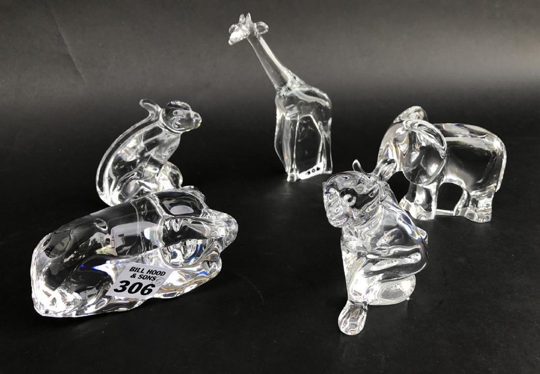 5 jungle Baccarat crystal figures, 2 monkeys, giraffe,