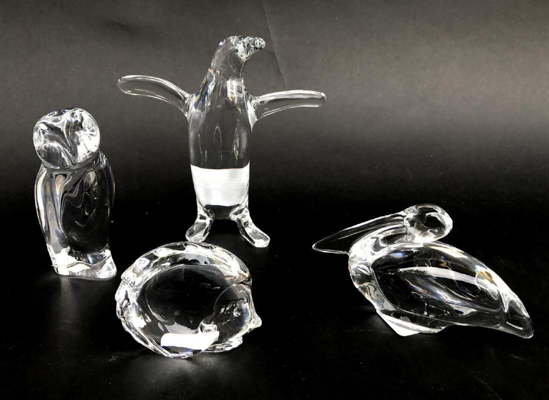 4 Baccarat birds, pelican, owl, fish and penguin