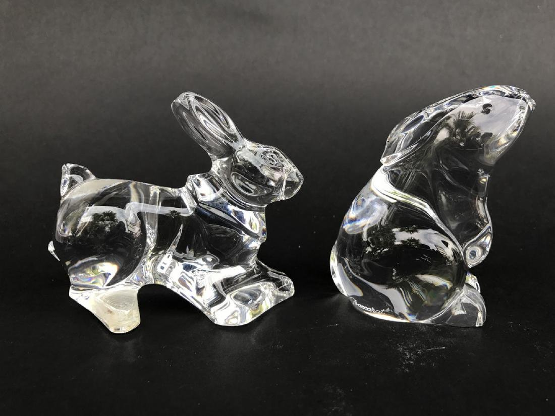 4 Baccarat figures, 2 rabbits, frog and heart - 4