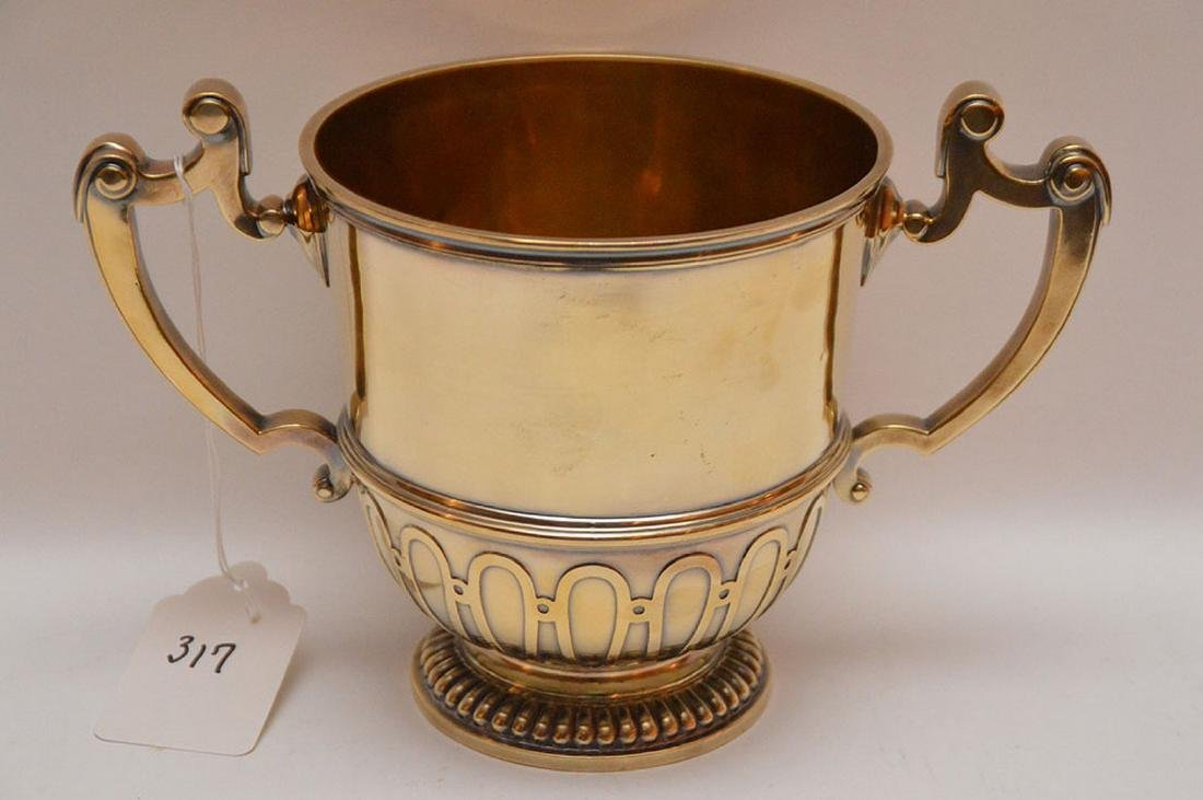 "English sterling loving cup, ""Chricton Ltd"", 21ozt, 7""h"