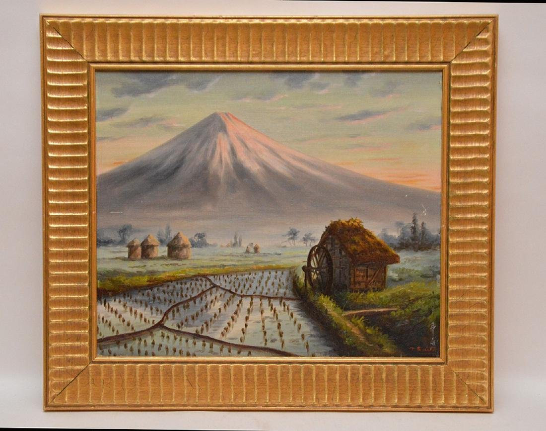 T. Saito Japanese Painting, mount Fuji, 15 x 18 inches