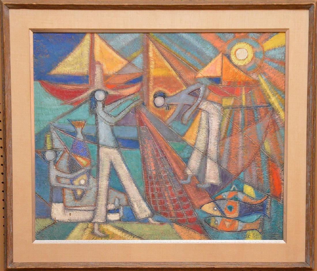 Nancuz oil on board, Modernist Fisherman painting, 24 x