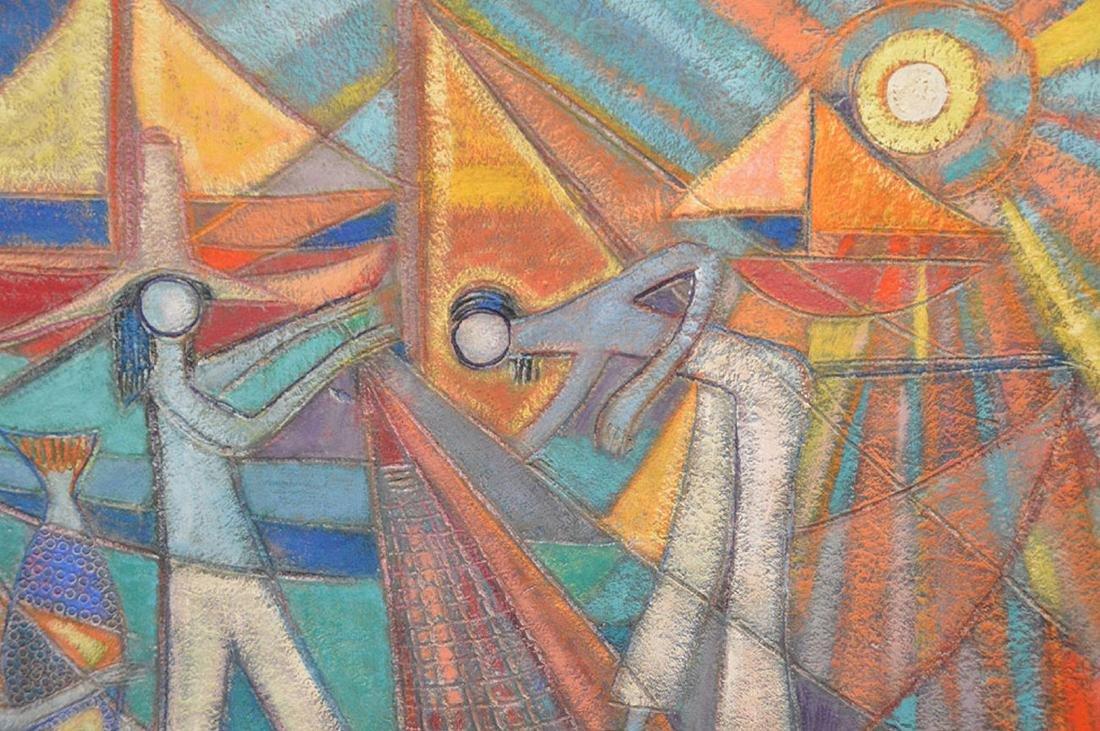 Nancuz oil on board, Modernist Fisherman painting, 24 x - 2