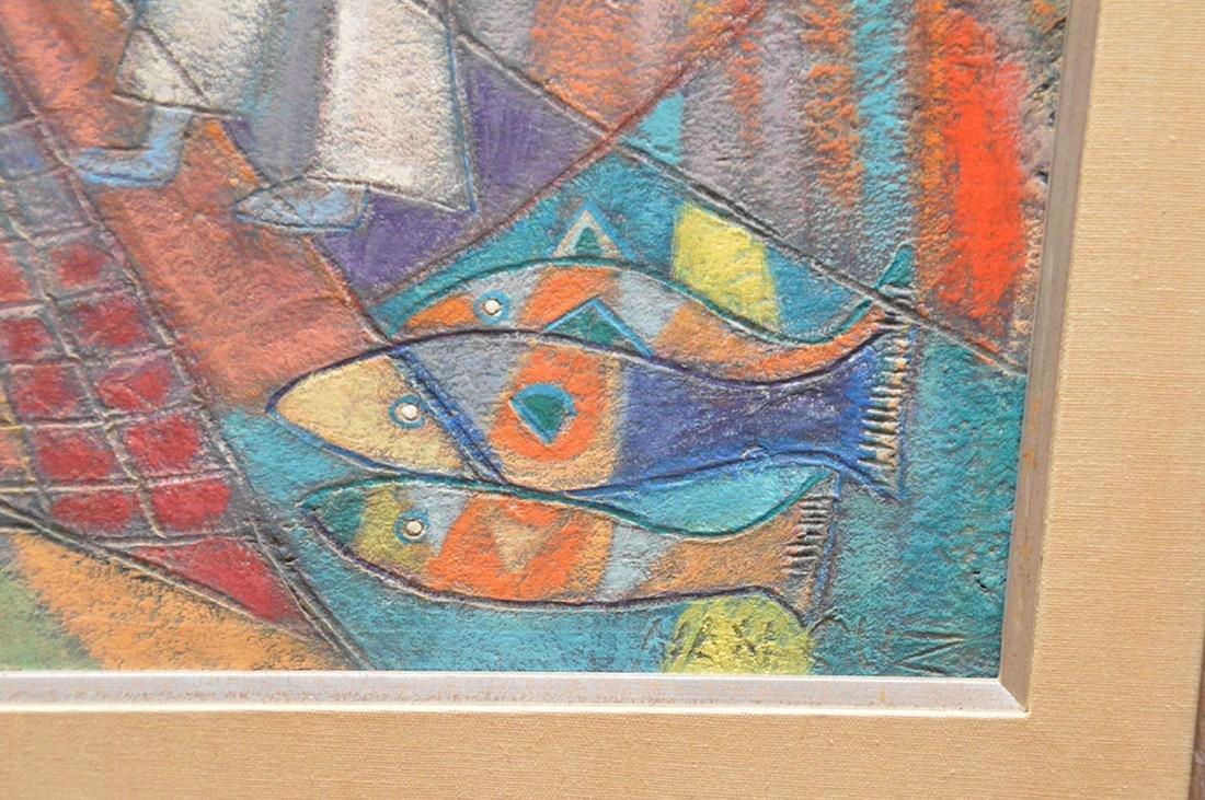 Nancuz oil on board, Modernist Fisherman painting, 24 x - 4