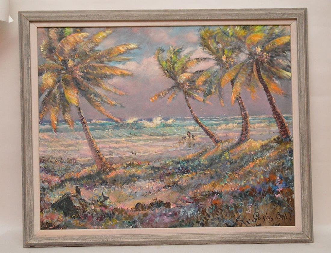 Florida Coastal scene waves with figures by Geoffrey