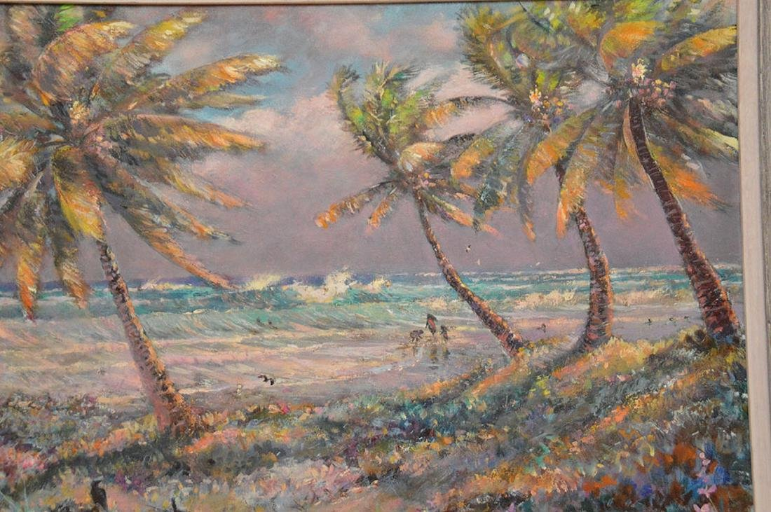 Florida Coastal scene waves with figures by Geoffrey - 2