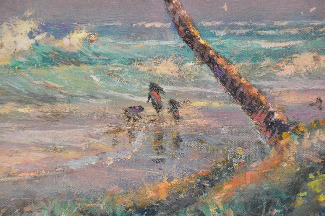 Florida Coastal scene waves with figures by Geoffrey - 3