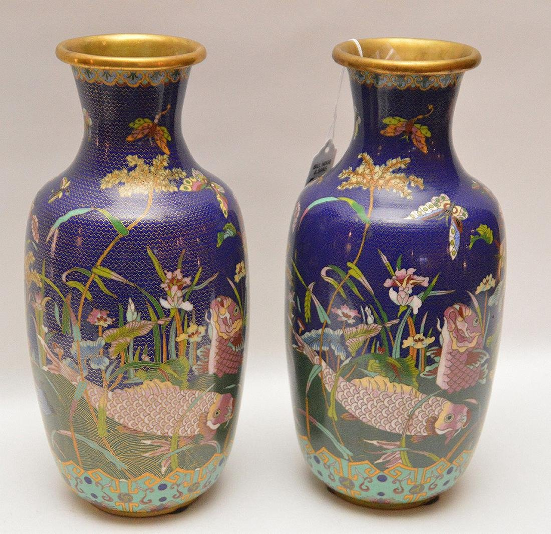 Pair cloisonné vases, each signed on the bottom, 11